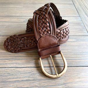 Michael Kors Braided Brown Leather Belt EUC!